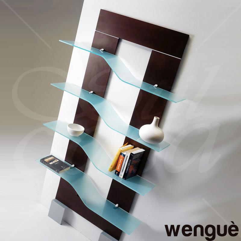 Libreria da parete con 4 mensole in vetro e supporti wave frame pezzani srl stilcasa net - Parete con mensole ...