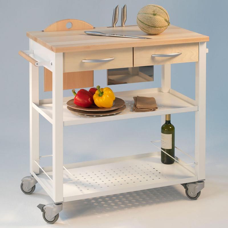 Carrello cucina legno bianco carrello da cucina professionale chef telaio bianco con ripiano in - Cucina rovere sbiancato e bianco ...