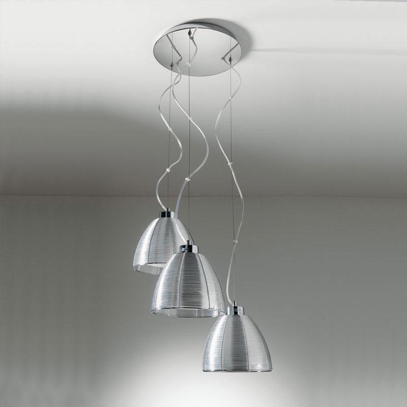 Lampadario a sospensione tre luci con paralme in filo - Lampadari per il bagno ...