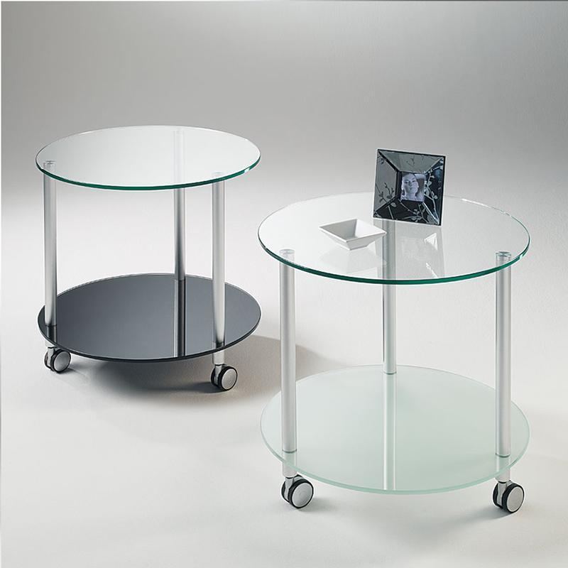 Tavolino rotondo con struttura in tubolare di alluminio e ...