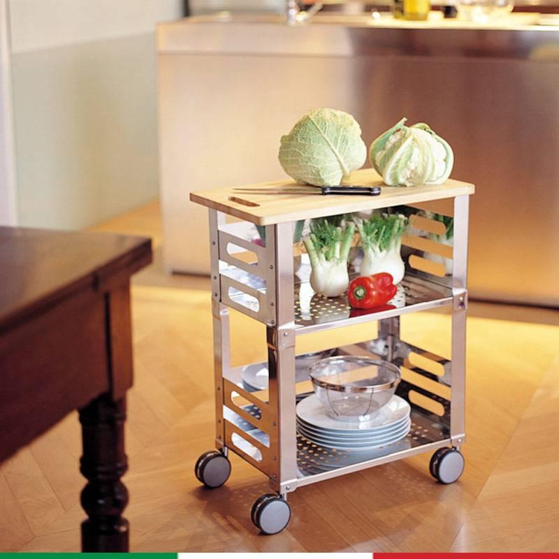 Carrello da cucina p u b kitchen 56 x 32 5 x h 71 in acciaio inox lucido con tagliere in legno - Carrello cucina acciaio ...