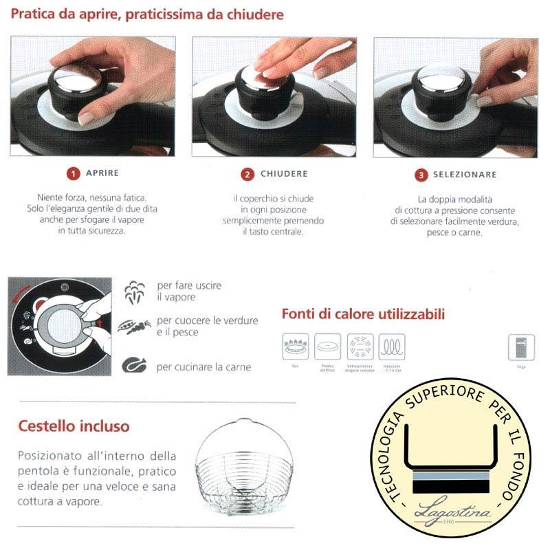 Pentola a pressione clips 10 l lagostina stilcasa net - Pentola x cucinare a vapore ...