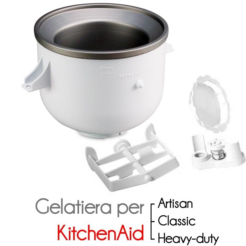 Kitchenaid accessori gelatiera set 4 pezzi 5kicaowh - Gelato kitchenaid ...