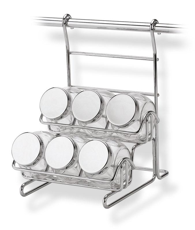 Portaspezie con 6 vasetti appicabile alla barra da cucina portautensili rotonda in acciaio cromo - Portaspezie da parete ...