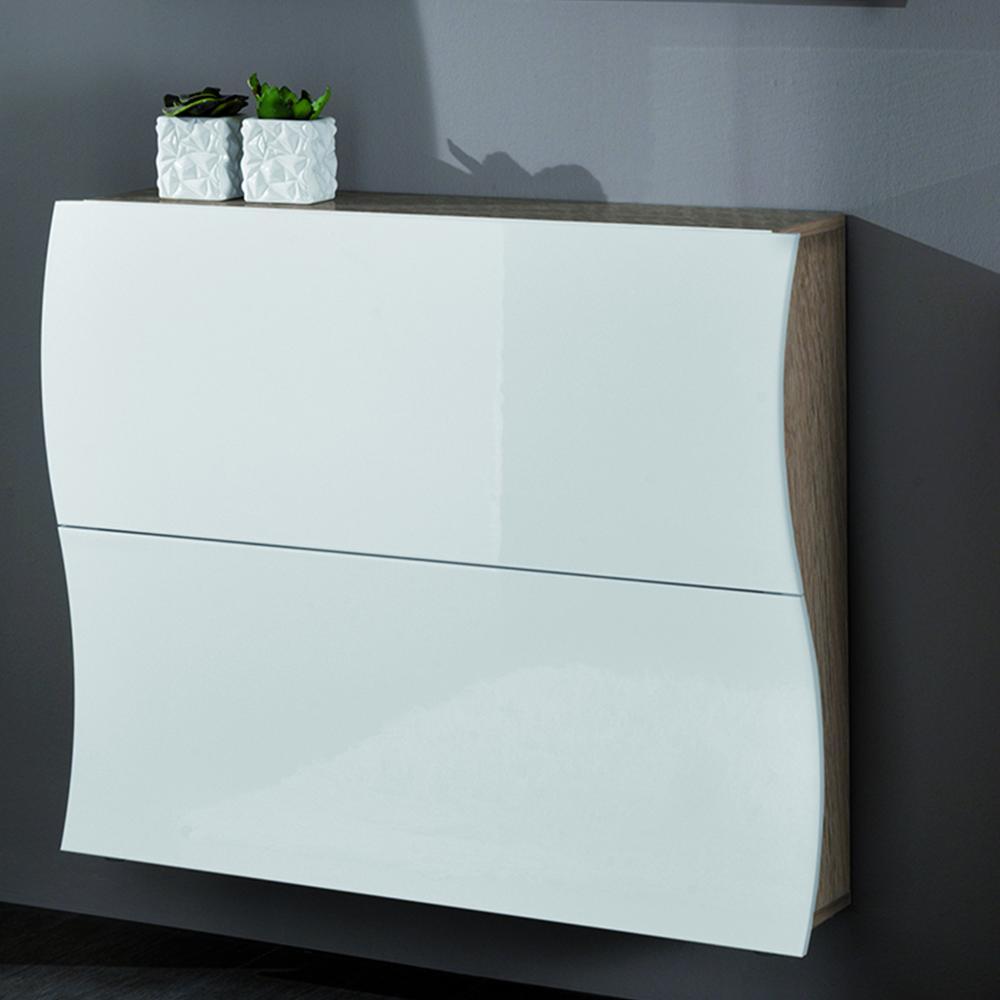 Scarpiera 2 ante 110x27xh82 cm in legno laccato bianco for Scarpiera arredo