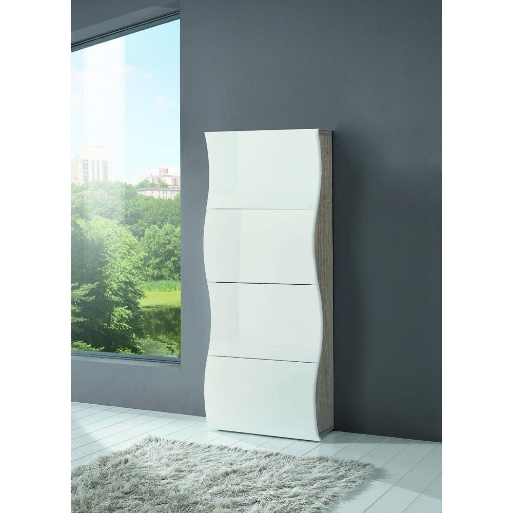 scarpiera 4 ante 71x28xh162 cm in legno rovere bianco onda 24 paia in kit di montaggio tecnos. Black Bedroom Furniture Sets. Home Design Ideas