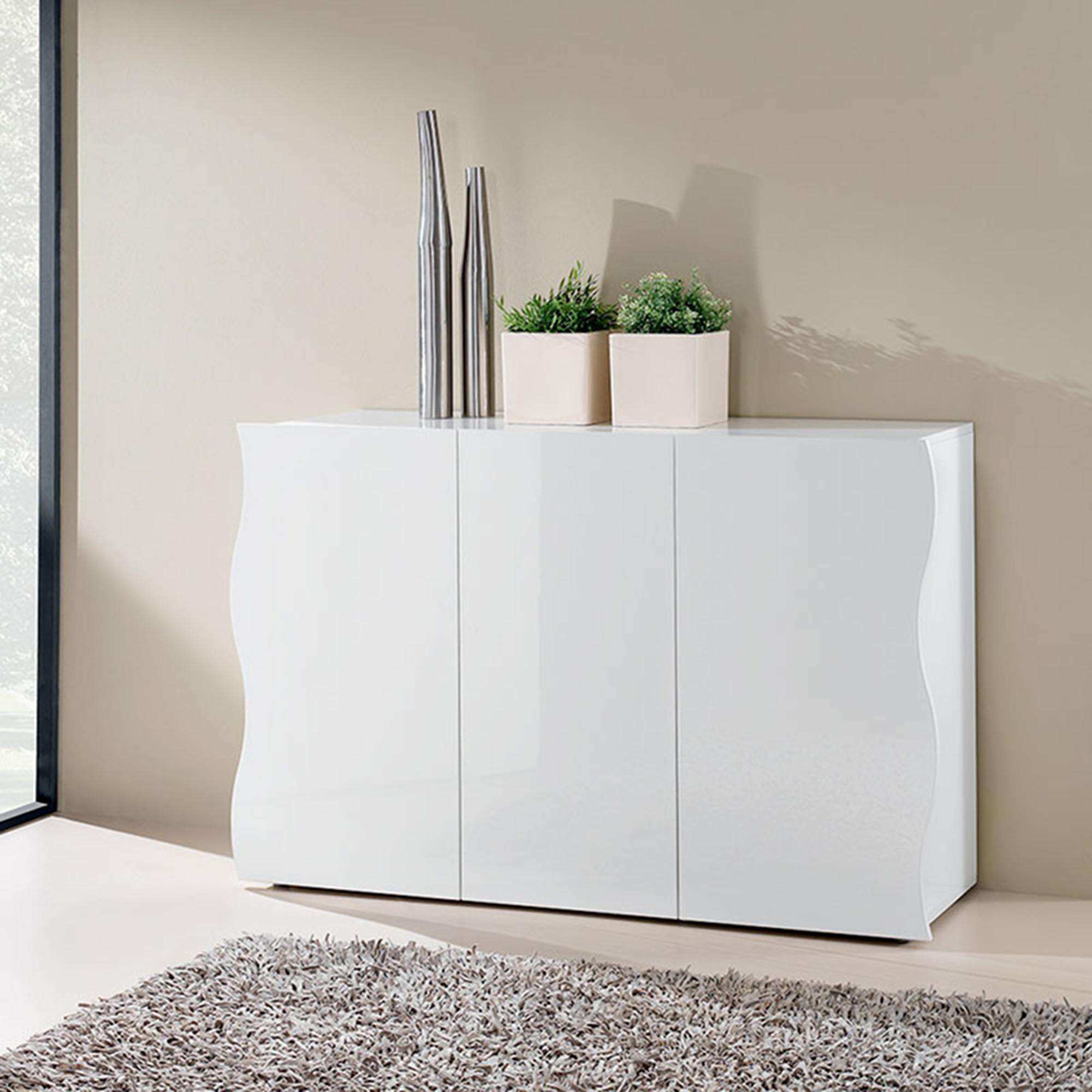 mobile soggiorno bianco laccato : Mobile bianco 3 ante ONDA laccato bianco Lucido larghezza 130 cm ...